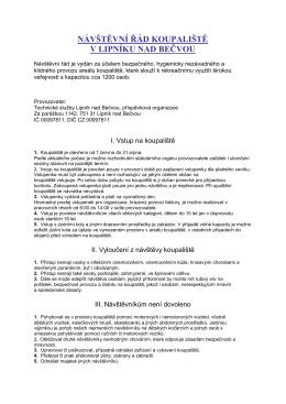 Návštěvní řád koupaliště - Technické služby Lipník nad Bečvou