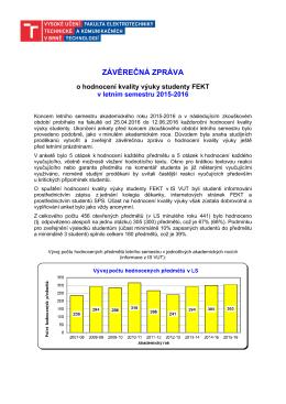 Závěrečná zpráva studijních proděkanů o hodnocení kvality výuky