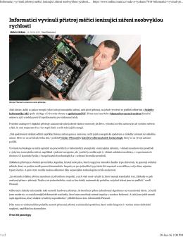 2016-06-19 Informatici vyvinuli přístroj měřící ionizující