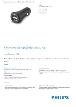 Product Leaflet: Univerzální duální USB nabíječka do auta