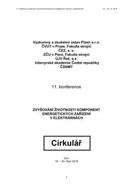 Cirkulář 11. ročníku konference. - Výzkumný a zkušební ústav Plzeň
