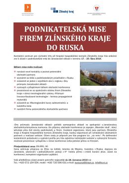 podnikatelská mise firem zlínského kraje do ruska
