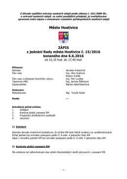 Zápis z jednání Rady města Hostivice č. 15/2016