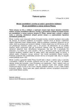 Ministr zemědělství Jurečka se sešel s generálním ředitelem EK pro