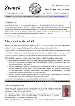 Zvonek - Základní škola Brankovice