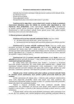 Povinnosti zaměstnavatele k náhradě škody Zákoník práce