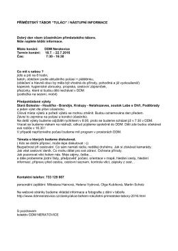 Nástupní informace PT TULÁCI