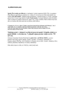 Hlášení 22.6.2016 - Obec Bílovice nad Svitavou
