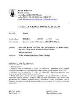 Informace z jednání bytové komise ze dne 20.06