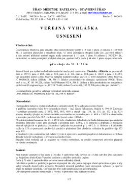 usnesení o přerušení ÚŘ