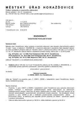 Rozhodnutí - Městský úřad Horažďovice