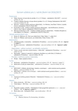 Seznam učebnic pro 1. ročník (školní rok 2016/2017)