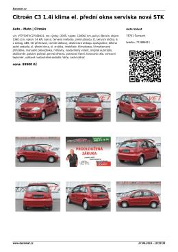 Citroën C3 1.4i klima el. přední okna serviska nová STK