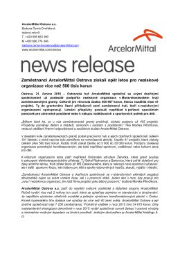 Zaměstnanci ArcelorMittal Ostrava získali opět letos pro neziskové