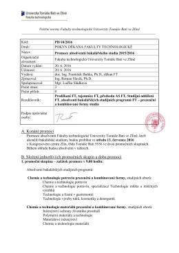 Pokyn děkana PD/10/2016 - Univerzita Tomáše Bati ve Zlíně
