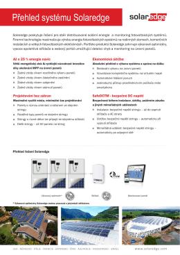 SolarEdge Overview Přehled systému Solaredge