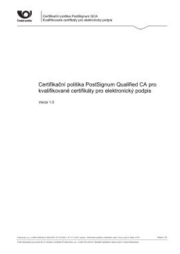 certifikační politice - Certifikační autorita PostSignum