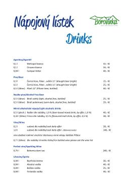 Nově aktualizovaný nápojový lístek