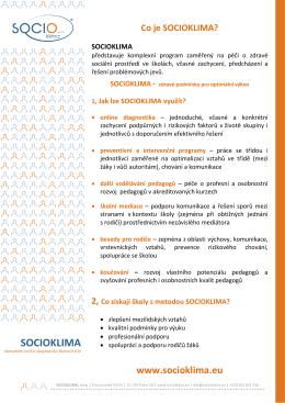 Co je program SOCIOKLIMA a jaký přináší užitek školám
