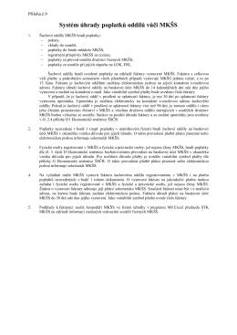 Systém úhrady poplatků oddílů vůči MKŠS