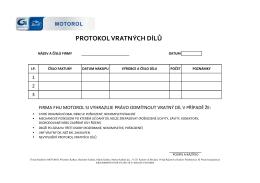 protokol vratných dílů