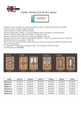 Ceník vchodových dveří Loprais