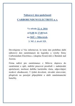 Náborový den společnosti CARBORUNDUM ELECTRITE as