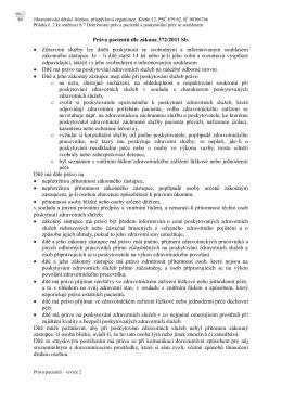 Práva pacientů - Jihomoravské dětské léčebny, p.o.