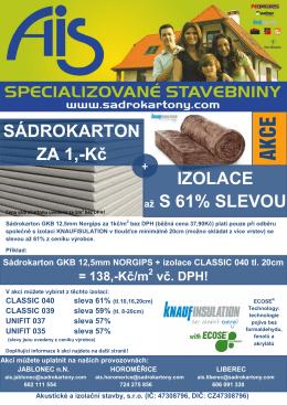 SÁDROKARTON ZA 1,-Kč IZOLACE až S 61% SLEVOU