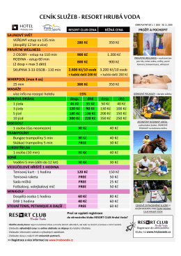 Ceník služeb držitelům Resort Card