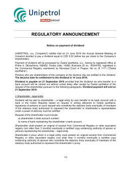 regulatory announcement