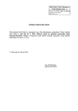 Zrušení výběrového řízení na obsazení pracovního místa referent