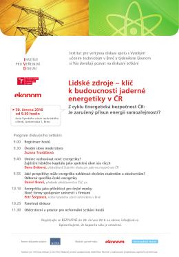 Lidské zdroje – klíč k budoucnosti jaderné energetiky v ČR