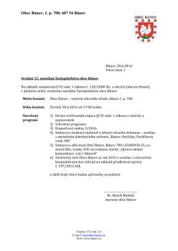 Pozvánka na 12. zasedání obce Bánov veřejnost