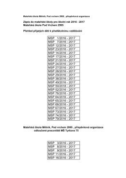 MSP 1/2016 - 2017 MSP 7/2016 - 2017 MSP 12/2016