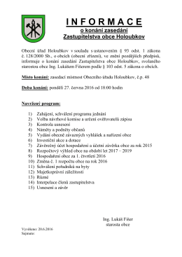 Pozvánka na jednání zastupitelstva obce - 27.6