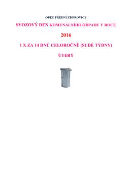 Svoz odpadu r. 2016