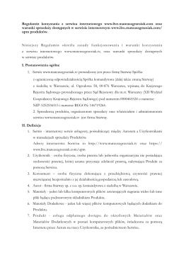 Regulamin - Mateusz Grzesiak