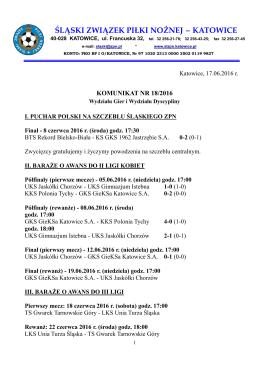 Komunikat nr 18/2016 Wydziału Gier i Wydziału Dyscypliny