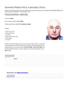 Generuj PDF - Komenda Miejska Policji w Jastrzębiu Zdroju