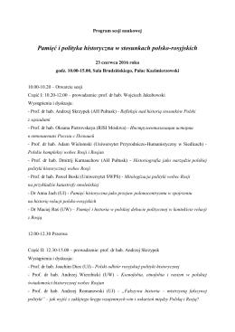 Program sesji naukowej