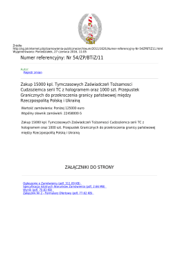 Numer referencyjny: Nr 54/ZP/BTiZ/11