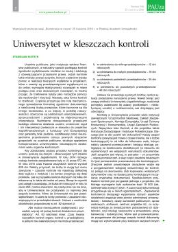 Uniwersytet w kleszczach kontroli