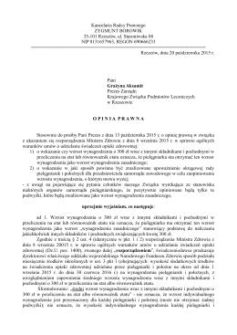 Opina prawna w związku z ukazaniem się rozporządzenia Ministra