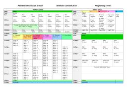 Palmerston Christian School Athletics Carnival 2016 Program of