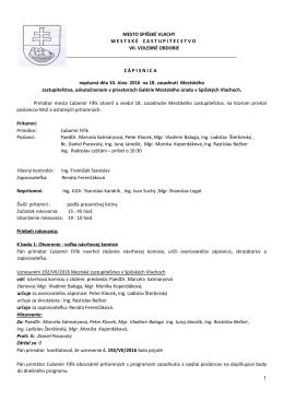 Zápisnica z 18. zasadnutia MsZ v Spišských