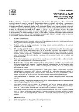 Poštové podmienky - Všeobecná časť (medzinárodný styk)