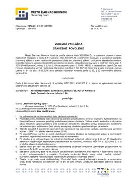 verejná vyhláška stavebné povolenie