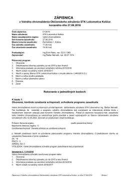 zápisnica - STK Lokomotíva Košice