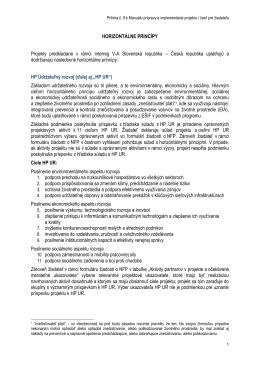 HORIZONTÁLNE PRINCÍPY Projekty predkladané v rámci Interreg